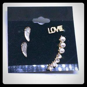 Target LOVE/Wings & Pearl & Crystal Stud Earrings